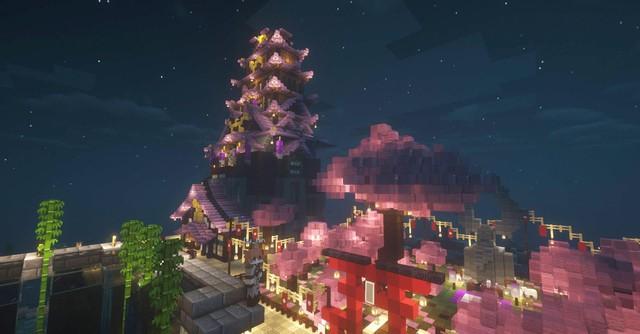Không cần đợi Genshin Impact 2.0, game thủ tự xây thành phố Inazuma trong Minecraft - Ảnh 7.