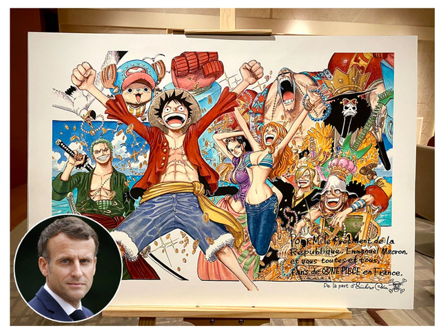 Tổng thống Pháp là một fan cứng của One Piece, từng được Oda tặng riêng cho một bức ảnh - Ảnh 1.