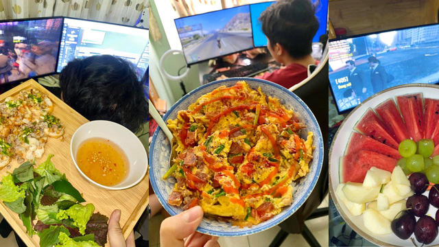 As happy as a gamer, at home playing games, his girlfriend cooks a lot of delicious dishes - Photo 1.
