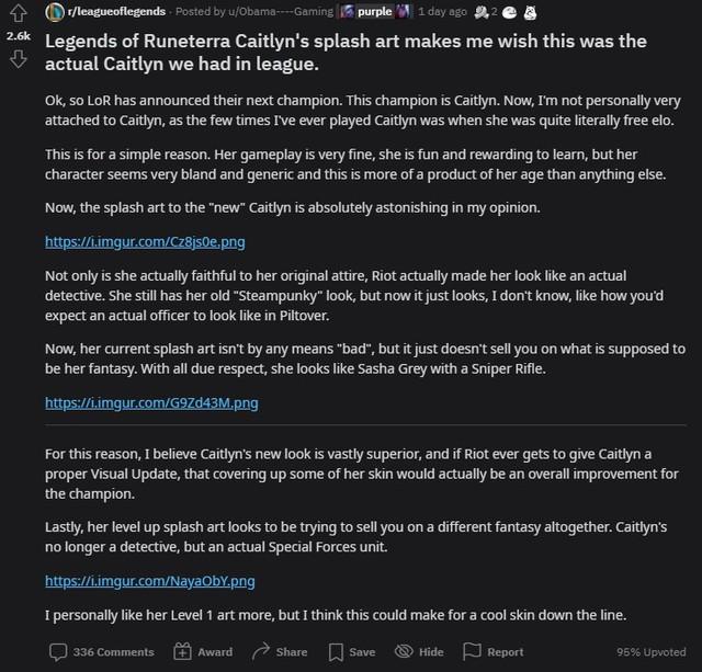 Game thủ LMHT yêu cầu Riot nâng cấp hình ảnh cho Caitlyn Caitlyn-1629339821104104400272