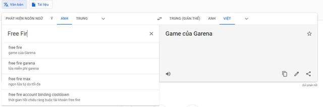 Cạn lời ý thức trẻ trâu, game thủ Lửa Chùa sửa luôn khái niệm Free Fire trên Google Dịch thành thế này - Ảnh 1.