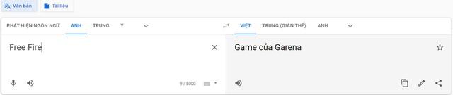 Cạn lời ý thức trẻ trâu, game thủ Lửa Chùa sửa luôn khái niệm Free Fire trên Google Dịch thành thế này