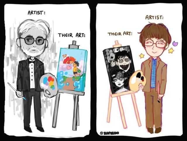 Loạt meme hài hước về sự đối lập giữa đạo diễn Miyazaki Hayao và họa sĩ Junji Ito - Ảnh 8.