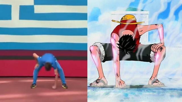 One Piece: Hết Luffy, giờ đến lượt Franky được vận động viên Olympic cosplay trên sóng trực tiếp - Ảnh 4.