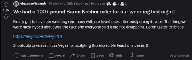 Quá đam mê LMHT, một nữ game thủ quyết định dùng bánh Baron phiên bản nặng hơn 45kg làm bánh cưới - Ảnh 1.