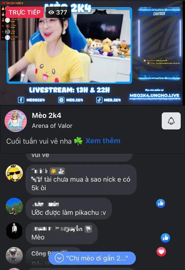 """Mặc trang phục Pokémon """"núng nính"""" livestream, nữ streamer Liên Quân khiến fan muốn biến thành Pikachu - Ảnh 2."""