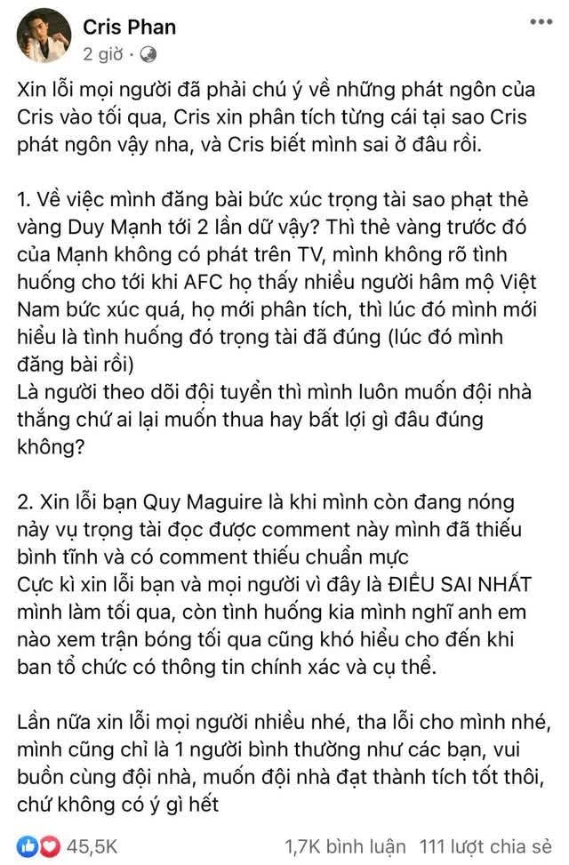 """Cris Phan đăng đàn xin lỗi fan vì phát ngôn lúc nóng nảy, Zeros """"hồi tưởng ngay về quá khứ bị ban không thương tiếc  - Ảnh 2."""