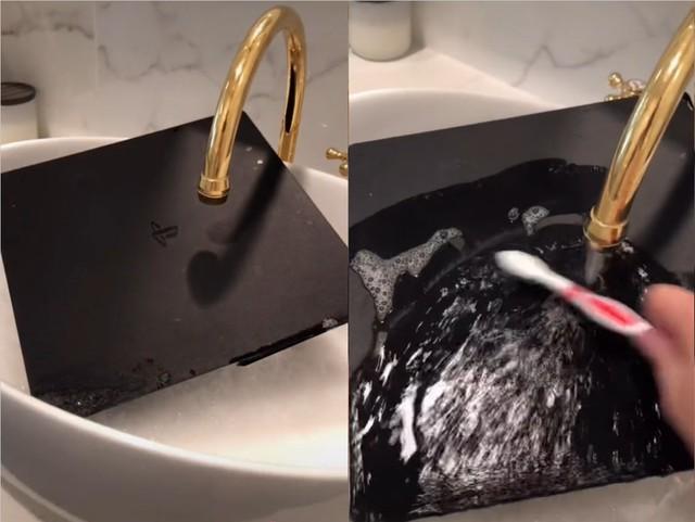 Thấy PS4 của bạn trai quá bẩn, cô gái cho hẳn vào vòi rửa, lấy bàn chải lau cả bụi trong bo mạch và cái kết đắng lòng - Ảnh 2.