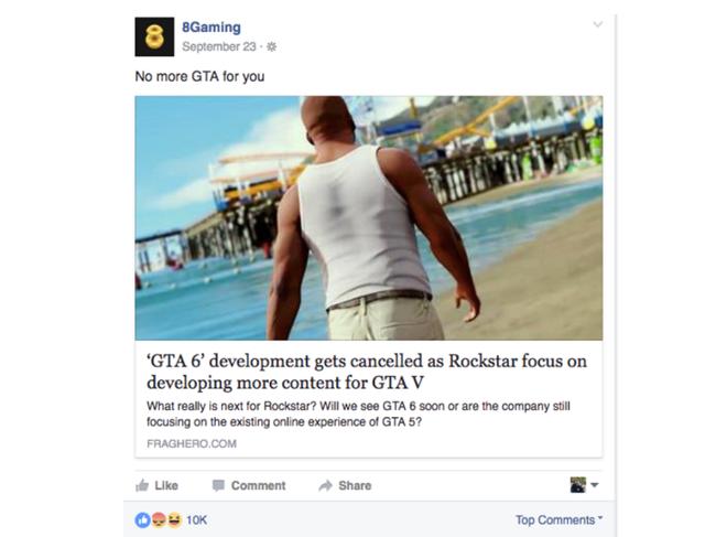 Một ví dụ về thông tin không có thật về GTA VI nhưng được chia sẻ rất nhiều trên Facebook.