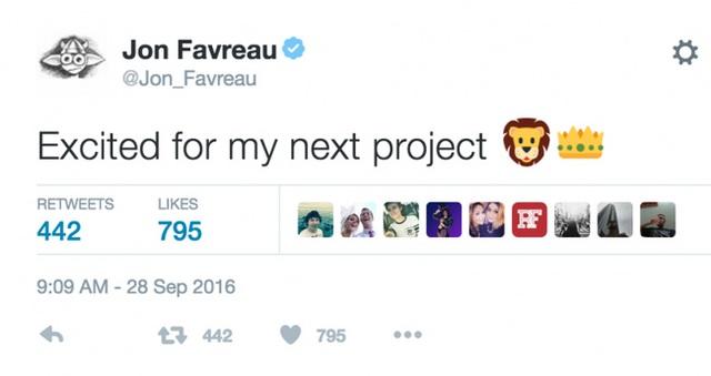 Favreau, đạo diễn của The Jungle Book và Iron Man mới đây đã tweet trên Twitter rằng: Rất hào hứng với dự án mới. Đi kèm là emoji con sư tử và chiếc vương miện