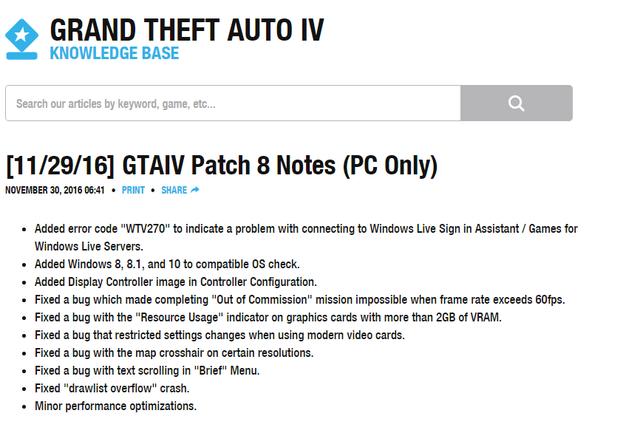 Thông báo mới cập nhật trên trang chủ của Rockstar về patch mới dành cho GTA IV.