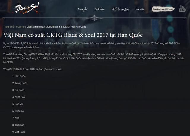 Thông báo về việc Việt Nam có suất tham dự Chung Kết Thế Giới 2017 của Blade and Soul