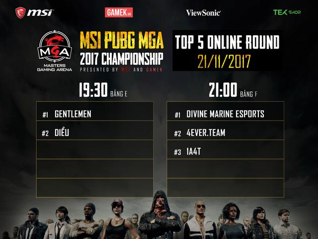 Danh sách 5 team xuất sắc nhất sau ngày thi đấu thứ 3 giải MSI GameK PUBG Championship 2017.