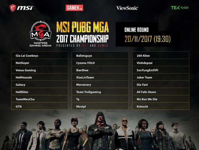 Công bố danh sách chia bảng vòng loại squad online của giải đấu MSI KenhTinGame PUBG 2017