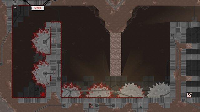 Các màn chơi của Super Meat Boy thường xuyên dày đặc cạm bẫy mà chỉ cần chạm vào là nhân vật đi đời ngay.