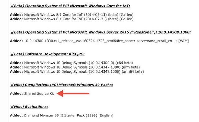 Ảnh chụp màn hình từ BetaArchive về Share Source Kit của Microsoft