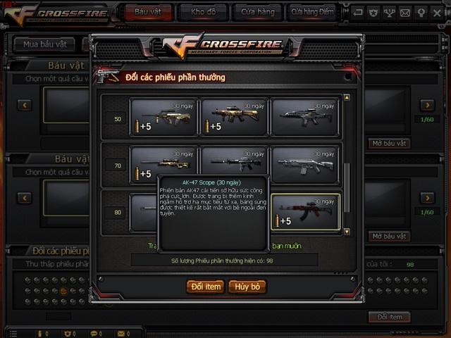 AK-47 BS không còn bán những vẫn có thể sở hữu AK-47 Scope qua việc đổi phiếu phần thưởng