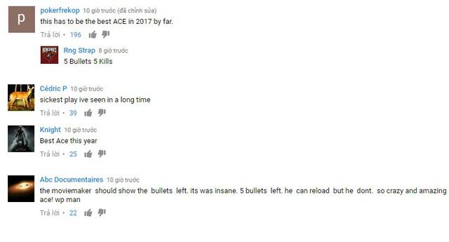 Các comment ca ngợi pha Ace của XMS tràn ngập khắp youtube, reddit, hltv…