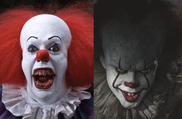 Chú hề đáng sợ Pennywise trong hai bản phim It (1990 và 2017).