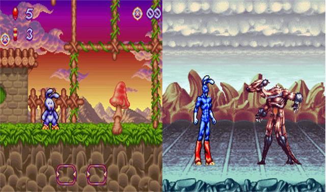 Một hình ảnh trong tựa game Quik the Thunder Rabbit.