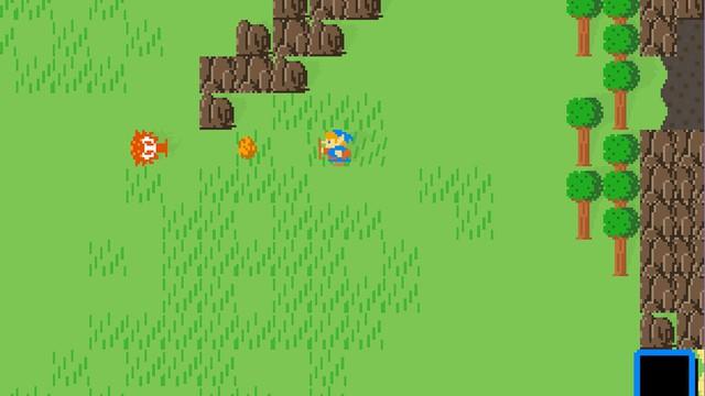 Hình ảnh đồng cỏ của Breath of the Wild khi được chuyển qua dạng 2D.