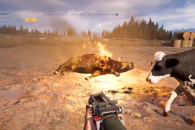 """Chết cười với gameplay của Far Cry 5, yêu cầu game thủ phải đi săn """"của quý"""" của bò và chế biến thành món ăn"""