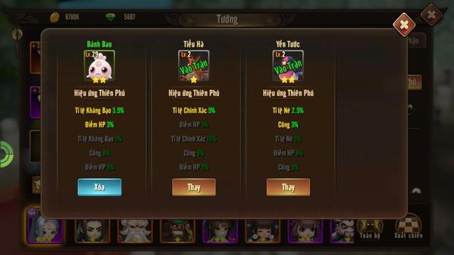 Mỗi tướng được phép mang 1 Pokemon ra trận để hỗ trợ tăng chỉ số chiến đấu