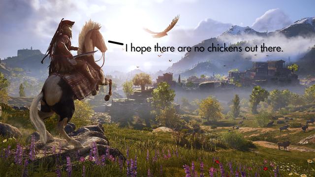 Tung hoành chán chê trong Skyrim, những chú gà tấn công cả sang Assassins Creed Odyssey - Ảnh 3.