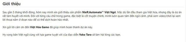 Xuất hiện bản Việt hóa hoàn chỉnh của Nier: Automata, game thủ có thể tải và chơi ngay bây giờ - Ảnh 2.