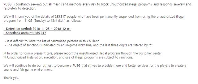 Hậu chiến dịch Fix PUBG, Bluehole tiếp tục ban gần 300.000 tài khoản trong 5 ngày - - Ảnh 2.