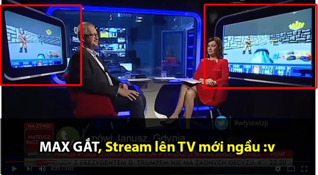 Màn hình minh họa chuyển sang trình chiếu game mà phóng viên lẫn kỹ thuật đều không hề hay biết.