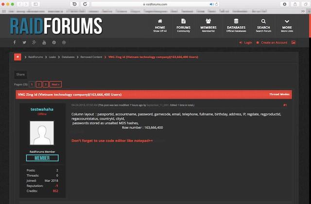 Bài chia sẻ của thành viên trên diễn đàn raidforums, cho rằng file dữ liệu có tới hơn 163 triệu tài khoản người dùng VNG - Ảnh chụp màn hình