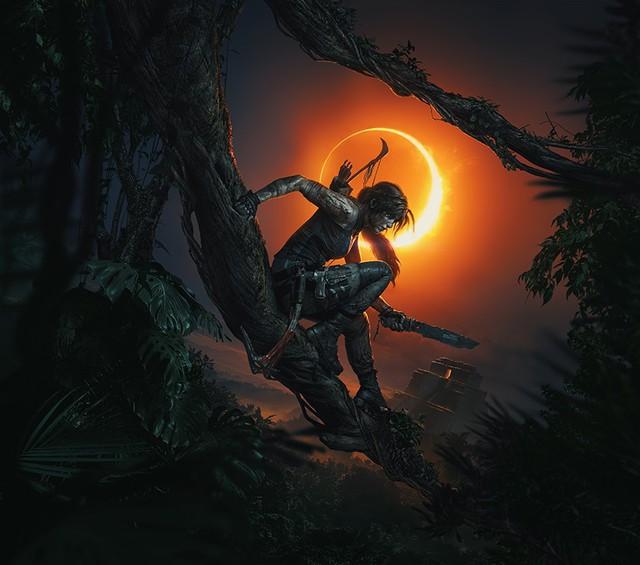 Poster lựa chọn tông màu tối, nữ chính Lara với vũ khí là cung và một con dao găm.