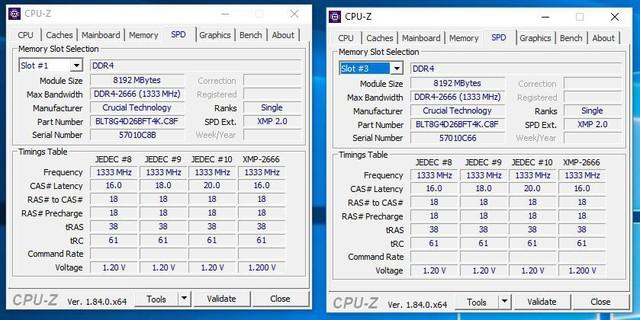 Thông số của bộ RAM Ballistix Tactical Tracer RGB khi chạy máy.
