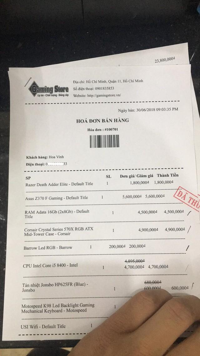 Một phần hóa đơn mua hàng của Hoa Vinh.