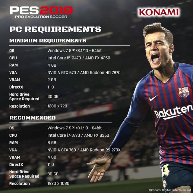 PES 2019 công bố cấu hình dễ thở, PC tầm trung vẫn chiến tốt - Ảnh 1.