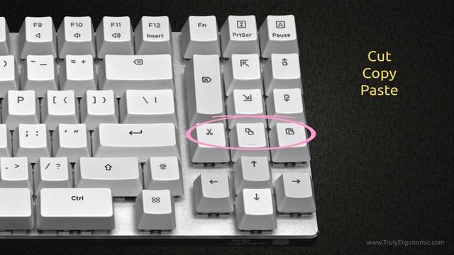 Bàn phím này còn có cả nút cut, copy, patse nữa...