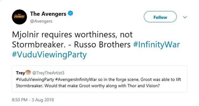 Avengers Infinity War: Đạo diễn giải thích lý do tại sao Groot có thể nâng chiếc rìu Stormbreaker của Thần Sấm Thor - Ảnh 2.