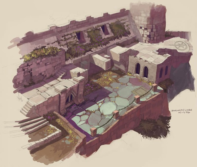 Một concept art về địa điểm trong tựa game Shrek