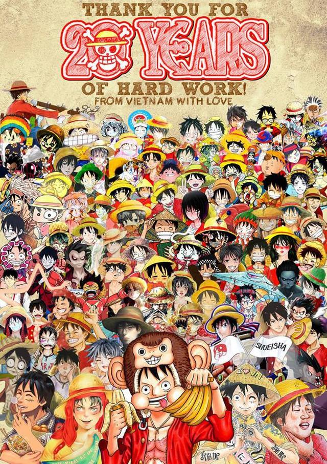 Fan Việt Nam vẽ bức tranh tổng 100 Luffy gửi tặng tác giải Eiichiro Oda
