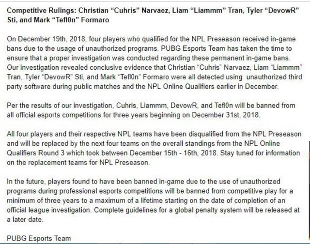Con sâu làm rầu nồi canh: 4 tuyển thủ PUBG chuyên nghiệp bị cấm vì dùng hack cheat, khiến cả đội bị loại khỏi giải - Ảnh 3.