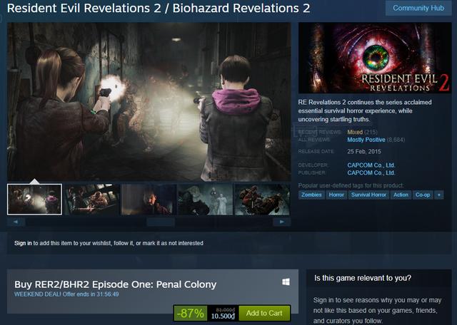 Khuyến mại sốc: Bom tấn Resident Evil Revelations 2 giảm giá còn 10k - Ảnh 1.