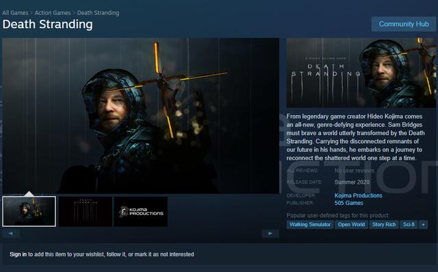 Death Stranding đã xuất hiện trên Steam tuy nhiên giá lại