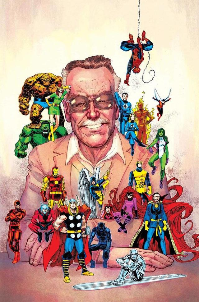 Marvel tri ân 1 năm ngày mất của Stan Lee với bức vẽ bố già quây quần bên đàn con siêu anh hùng đầy xúc động - Ảnh 2.