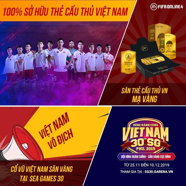 Lần đầu tiên FIFA Online 4 chơi lớn tặng miễn phí cầu thủ Việt Nam cho tất cả game thủ đồng hành cùng đội tuyển Việt Nam tại SEA Games 30 - Ảnh 2.