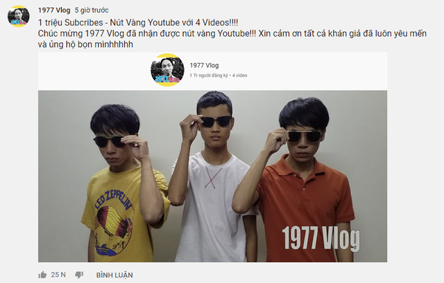 1977 Vlog chính thức làm nên lịch sử: Triệu sub ẵm nút vàng YouTube chỉ với vỏn vẹn 4 video - Ảnh 1.