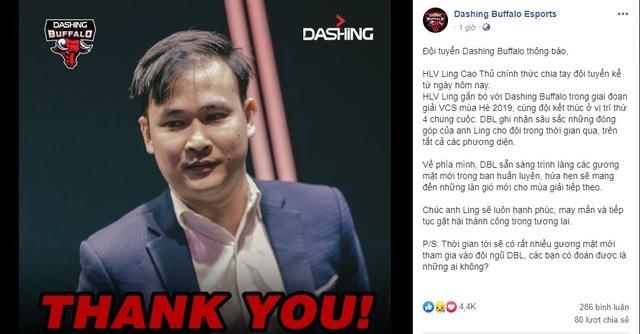 LMHT: HLV Ling Cao Thủ chia tay Dashing Buffalo chỉ sau một mùa giải - Ảnh 1.