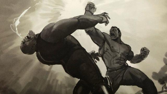 Bản vẽ concept cho thấy cảnh Hulk đấm tòe mỏ Thanos tại Wakanda, đáng tiếc là ta không được xem nó trên màn ảnh - Ảnh 1.