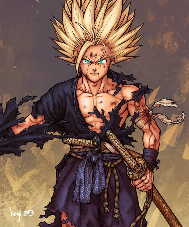 Loạt tranh siêu phẩm khi các nhân vật Dragon Ball vào vai lãnh chúa Samurai - Ảnh 1.
