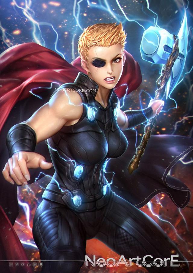 Ngắm loạt tranh vẽ nóng bỏng của biệt đội Avengers khi chuyển đổi giới tính - Ảnh 3.